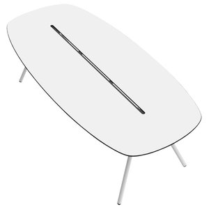 Large A-Lowha Long Board Table, White, Stainless Steel Frame