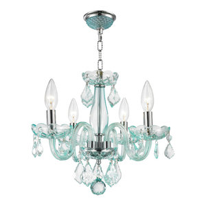 Modern 4-Light Crystal Small Mini Chandelier, Chrome Finish, Turquoise Blue