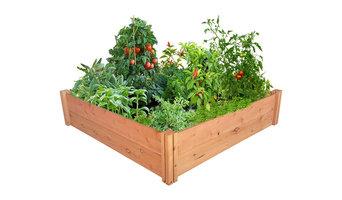 """GroGardens 4' x 4' x 11"""" Redwood Raised Garden Bed"""