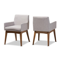 Nexus Walnut Wood Finishing Grayish Beige Fabric Dining Armchair, Set of 2