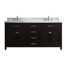 72-inch Double Bath Vanity In EspressoMarble TopSquare SinkPolished Chrome Faucet