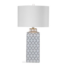 Bassett Mirror Sydney Table Lamp in Silver and White Finish