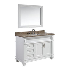"Hudson 48"" Single Sink Vanity Set, White With Marble Top"