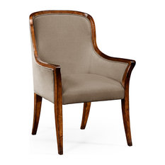 Jonathan Charles Low Curved Back Upholstered Dining Armchair 494996-AC-WAL-F001