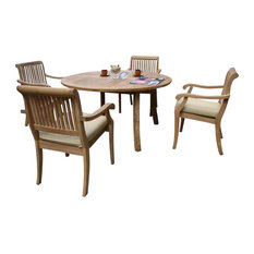 """5-Piece Outdoor Teak Dining Set, 52"""" Round Table, 4 Arbor Stacking Arm Chairs"""