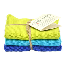 3-Piece Danish Cotton 100% Eco-Tex Certified Dishcloths, Lime Turquoise/Blue