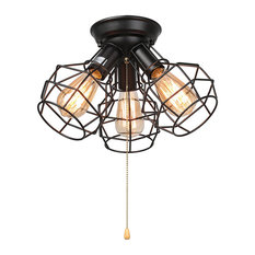 LNC Wire Cage Ceiling Lights, 3-Light Pull String Ceiling Lamp, Black Finish
