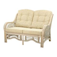 Lounge Malibu Armchair Rattan Wicker With Cream Cushion, White Wosh