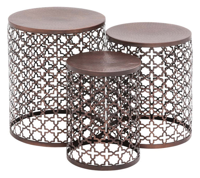 Jante 3-Piece Metal Accent Table Set - Contemporary - Coffee And ...
