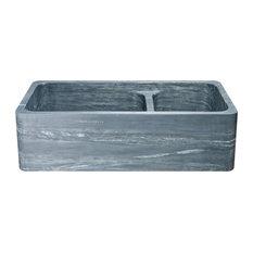 "36"" Farmhouse Kitchen Sink, Double Bowl, Reversible, Charcoal Marquina Soapstone"