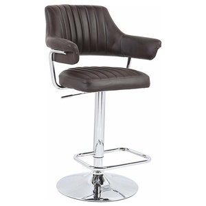 Modern Stylish Bar Stool, Faux Leather Padded Seat, Back, Brown