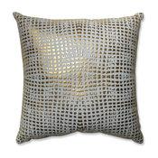 """Glamour Square Gold-White 17.5"""" Throw Pillow"""