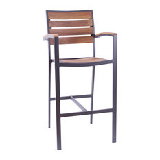 Dominica Solid Teak Outdoor Bar Stool, Anthracite