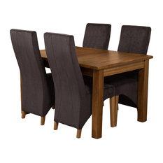 Cotswold Rustic Oak Extending Table, 4 Lola Chairs, Black Velvet Effect