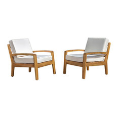 Outdoor Wood Club Chairs, Water Resistant Cushions, Beige, Set of 2