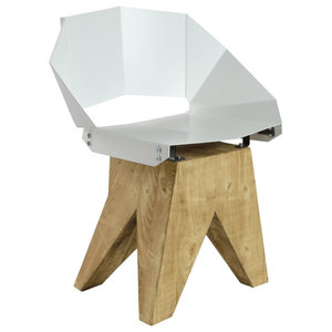 Angular Steel Stool With Short Backrest, White
