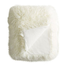 "Plano Mongolian Sheepskin Faux Fur Throw, Stone White, 50""x70"""
