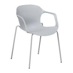 Elbert Curved Plastic Dining Chair, Grey