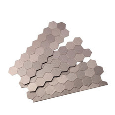 "4""x11"" Honeycomb Matted Metal Peel & Stick Backsplash Tile, Set of 3, Brushed St"