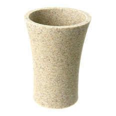 Gedy   Round Toothbrush Holder Made From Stone In Natural Sand Finish    Toothbrush Holders