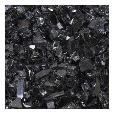 "1/4"" Reflective Tempered Fire Glass, Dark Matter Black, 10 Pound Jar"