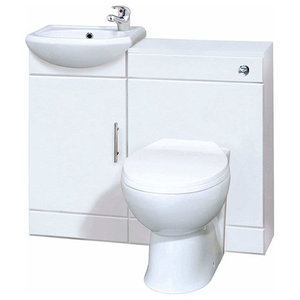 Contemporary Vanity Unit Bathroom With Compact Basin and Back To Wall Toilet