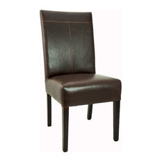 ARTEFAC   Antique Style T Patch Leather Dining Chair, Brown   Dining Chairs