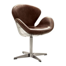 Top Grain Leather Accent Chair With Swivel, Brown and Silver