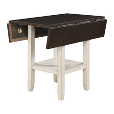 Dual Tone Solid Wood Counter Height Table with Bottom Shelve, Brown and White