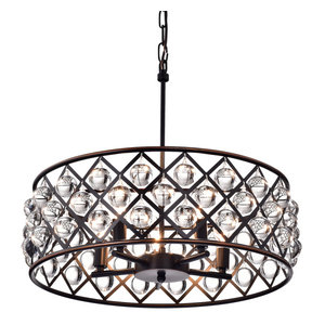 Azha 5-Light Oil Rubbed Bronze Drum Pendant Chandelier With Crystal Spheres Glam