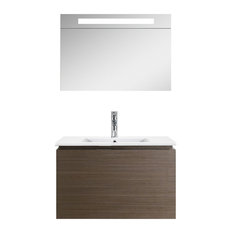 "Fine Fixtures Lexington Collection, Gray Oak, 32"", Vanity With Led Light Medicin"