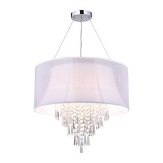 4-Light Double White Fabric Drum Shade Crystal Pendant Chandelier Glam Lighitng