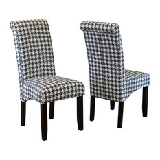 Milan Houndstooth Linen Dining Chairs, Set Of 2, Black