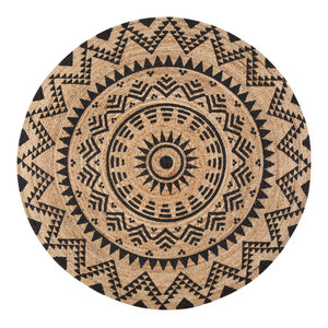 Jute Round Tribal Circle Black Print, 8' Round
