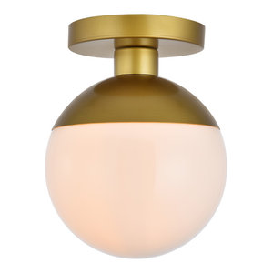 "8"" Modern 1-Light Flush Mount With Frosted White Glass, Brass"