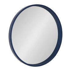 """Travis Round Wood Accent Wall Mirror, Navy Blue 25.6"""" Diameter"""