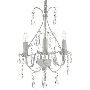 Wrought Iron Crystal 3-Light Ceiling Chandelier, Country French White