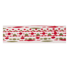 """2.5""""x10 yd. Red Green Bead Print Ivor yd. Wired Ribbon"""
