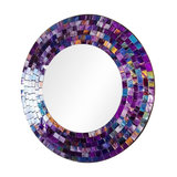 Round Wall Mounted Mirror, Elegant Mosaic Frame, Contemporary Design, Purple