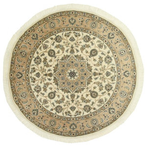 Nain 9La Oriental Rug, Round Hand-Knotted Classic, 154x154 cm