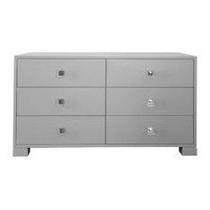 Millerton Six Drawer Dresser Matte Grey Nickel Hardware
