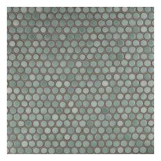 "12""x12.63"" Penny Porcelain Mosaic Tiles, Set of 10, Mint Green"