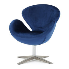 GDFStudio - Manhatten New Velvet Modern Swivel Chair, Navy Blue - Armchairs and Accent Chairs