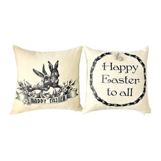 Happy Easter Pillow With Bunny Rabbit Pin