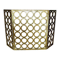 Fireplace Screen, Italian Gold Circle Design, Three Panel, Contemporary