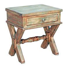 Million Dollar Rustic   Prescott Cross Leg End Table, Mint   Side Tables And