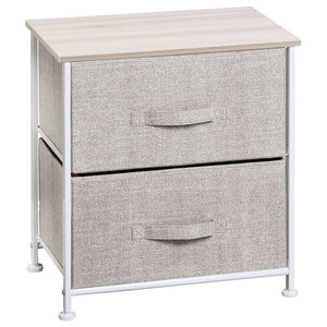 Modern Side End Table With White Finished Metal Frame and Wooden Table Top