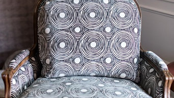 Classic French chair given new life with a fun modern fabric.