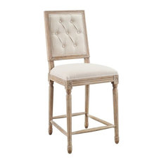 Linon Avalon Tufted Square Back Wood 25-inch Counter Stool In Natural Beige