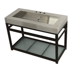 49-inch Stainless Steel Sink W/Steel Console Sink Base Brushed/Oil Rubbed Bronze